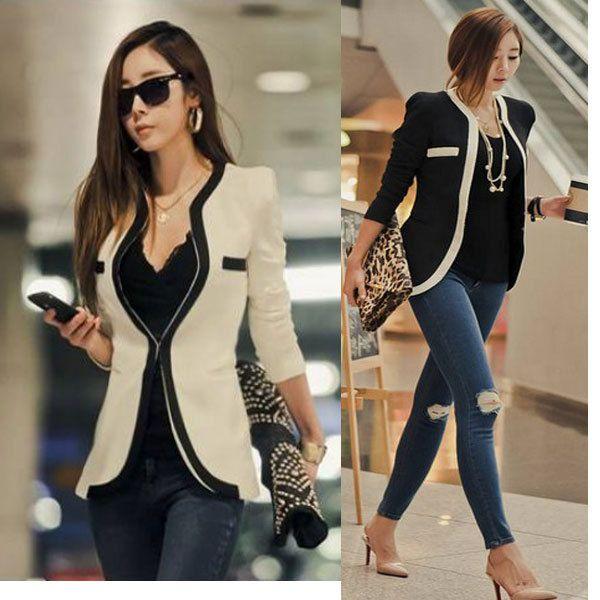 2013 nuevo estilo manga larga color blanco y negro slim fit de la mujer traje de chaqueta elegante chaqueta outwear ol casual capa de envo gratis