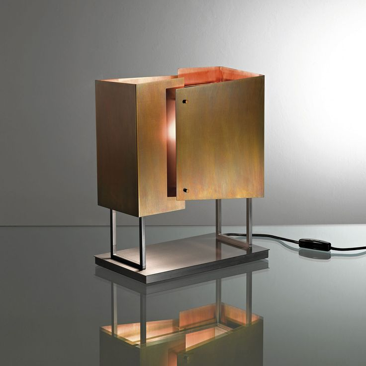 Table Lamp MA 20. Table lamp with black nickeled brass structure and shades elements in burnished brass. By Mark Anderson   Laurameroni