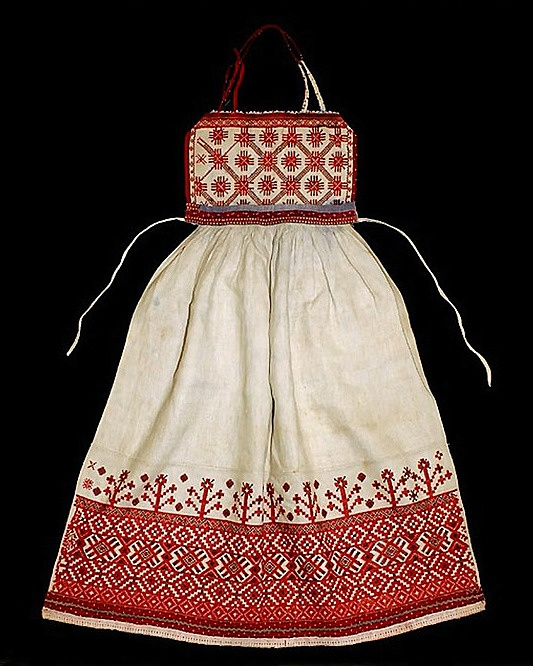 Russia. Apron holiday. Linen, embroidery. Second half of the 19th century