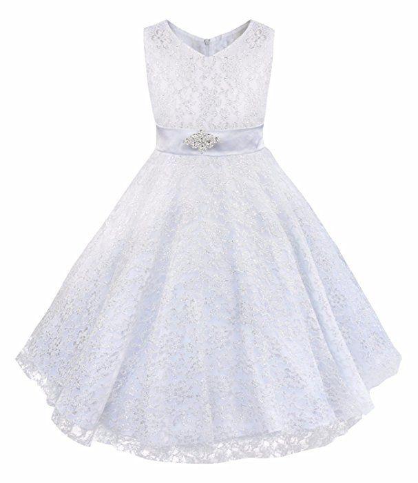 iEFiEL Mädchen Kinder Kleid Festlich Hochzeit Abendkleid Kommunionkleid 104 116 128 140 152 164 176 Weiß 176