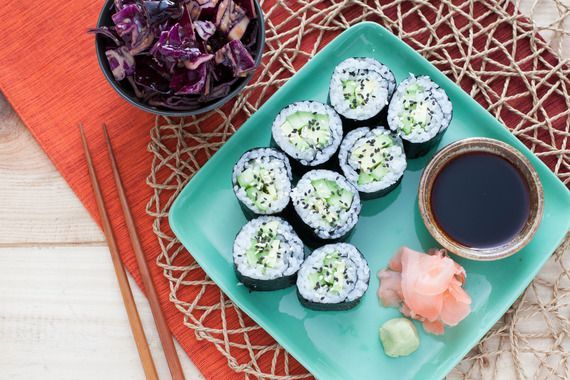 Cucumber-Avocado Maki with Red Cabbage-Miso Slaw. Visit http://www.blueapron.com/ to receive the ingredients.