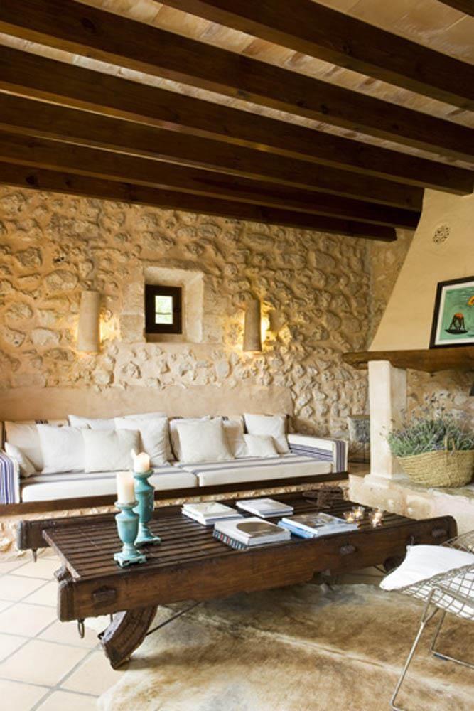 Sal n en casa de campo casa criativa pinterest - Salon de piedra ...