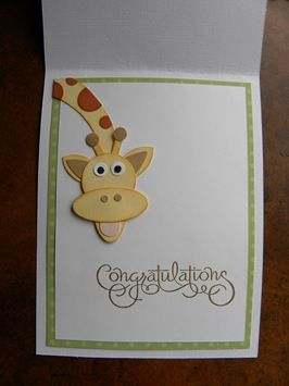 "Inside of giraffe card - so adorable...instead of congratulations write ""can't wait to meet you"" and use as a shower card"