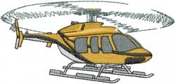 Mead Artworks Embroidery Design: BELL 407 HELICOPTER 2.26 inches H x 4.75 inches W