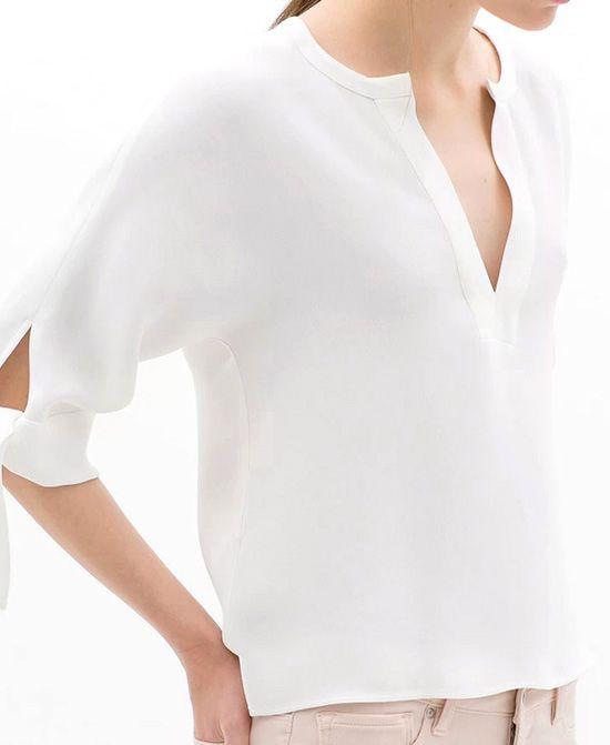 White V-Neckline Chiffon Blouse