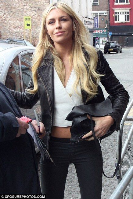 Abbey Clancy and AllSaints Rally Leather Jacket Photograph km