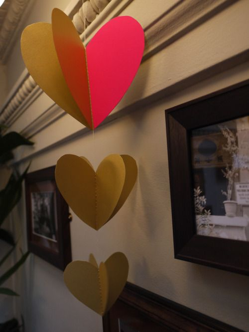 Three hearts decoration at Chaakoo in Glasgow  Luxury handmade paper decorations by Paper Street Dolls  Check out our store - paperstreetdolls.etsy.com