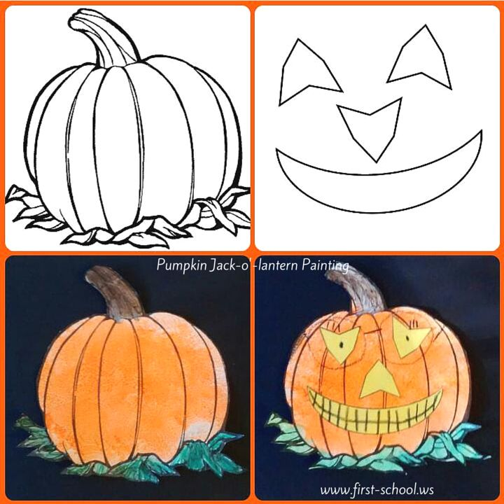 Pumpkin or jack o 39 lantern painting for autumn or for Halloween pumpkin painting templates