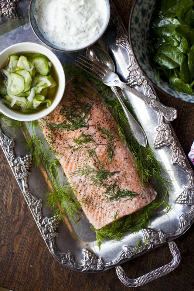 Poached Salmon with Cucumber Pickle and Dill Creme Fraiche