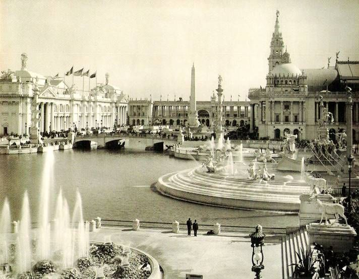 The World's Fair, Chicago, 1893. The area at the Court of Honor was known as The White City. The classical architecture buildings were made of a white stucco, which, in comparison to the tenements of Chicago, seemed illuminated. It was also called the White City because of the extensive use of street lights, which made the boulevards and buildings usable at night.