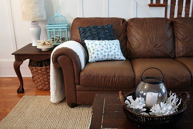 Good ideas for decorating with a brown leather sofa.