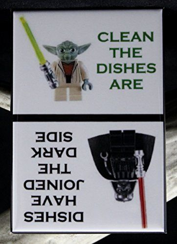 CLEAN / DIRTY Star Wars LEGOs - Dishwasher Magnet. Yoda Vader LEGO MiniFigure - Cool Kitchen Gifts
