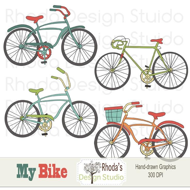 Retro Bikes Digital Clip Art Vintage Bicycles Set 1 (Retro). $7.95, via Etsy.