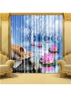 Wonderful Lotus On Water Printed Light Shading 3D Curtain