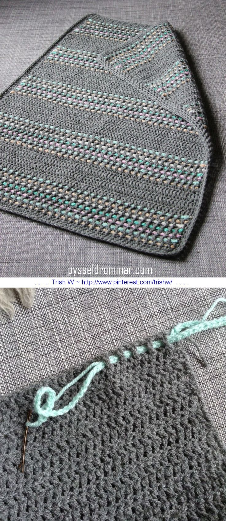 A very simple baby blanket worked in all DC, with a super-easy way to add color by weaving chains through the stitches.  Free tutorial from Pysseldrommar  - use Google translate, but photos are self-explanatory  . . . .   ღTrish W ~ http://www.pinterest.com/trishw/  . . . .   #crochet #afghan #throw