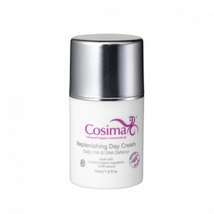 Cosima Skincare Replenishing Day Cream.  A rich non greasy face cream full of vitamins, minerals and antioxidants to nourish and protect your skin. This cream will fight the signs of premature ageing giving your skin a healthy glow. Perfect for use under make up.    Daily UVA & DNA Defence    All Cosima products are concentrated so a little really does go a long way.