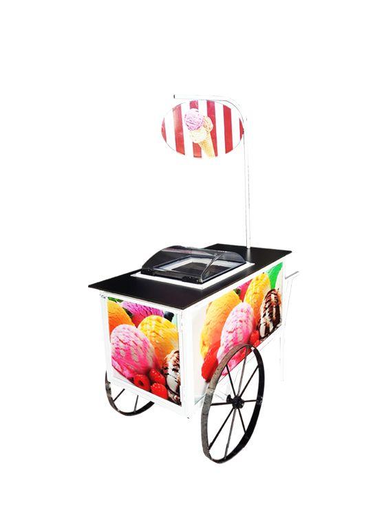Carrito de helados para eventos. Alquiler de carritos, venta de carritos de helados.