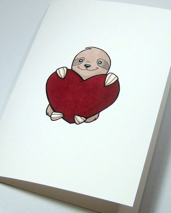 Cute Sloth Illustration Print Anniversary Valentines Day