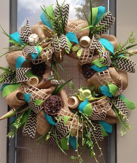 """WOODLAND SUMMER"" - XL Deco-Mesh Spring - Summer Anytime Wreath Decoration  by DecorClassicFlorals, $ 129.95 on Etsy."
