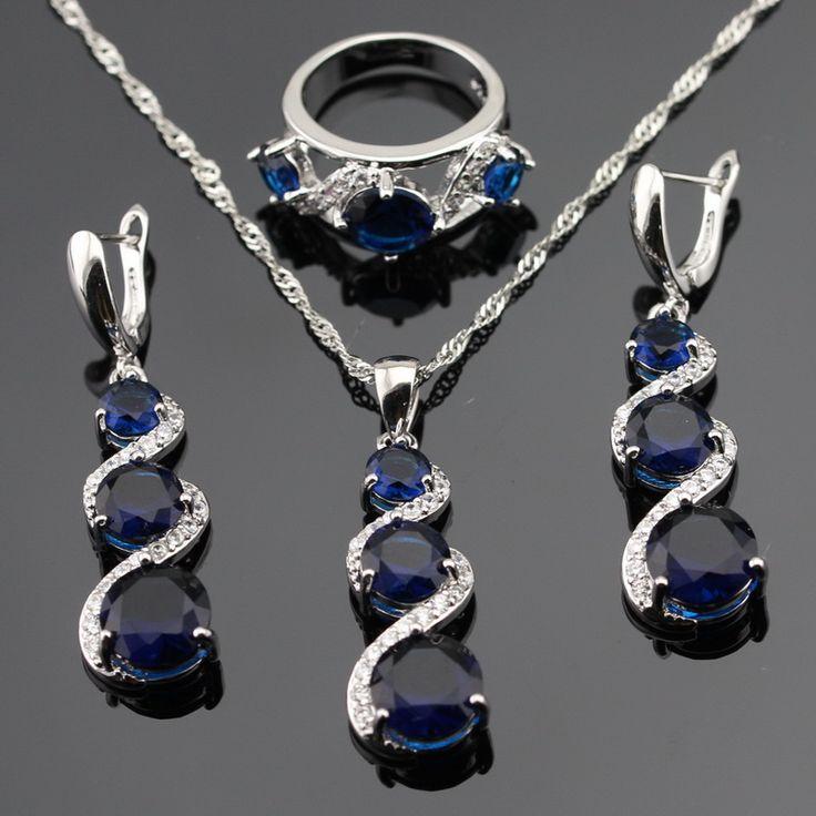 Trendy Blue Erstellt Sapphire Schmuck Sets Für Frauen Engagement Silber Farbe Halskette Anhänger Ohrringe Ringe Geschenk Box