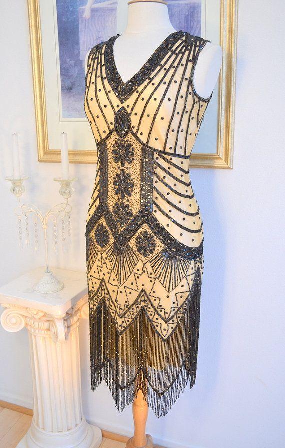 1920s Style Nude Black Beaded STARLIGHT by WearDreamsAreMade