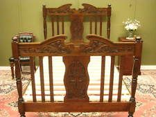 ANTIQUE CARVED MAPLE BED WITH SLAT BASE ~ SUITS AUSTRALIAN DOUBLE SIZE MATTRESS