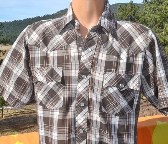 vintage 70s shirt plaid WESTERN brown white short by skippyhaha