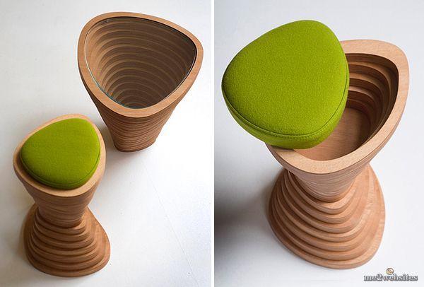 Минимализм в интерьере: Деревянный табурет и стол в виде Большого каньона от Janina Loeve