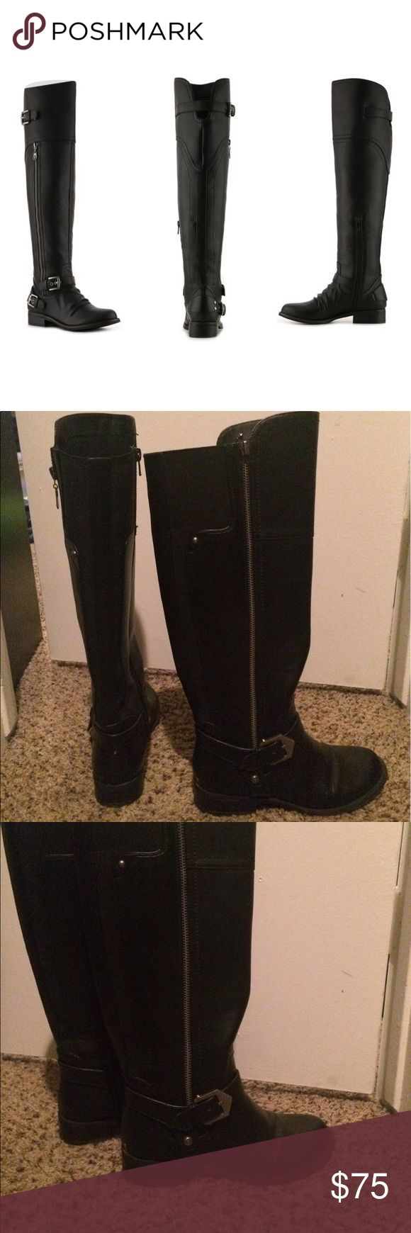 Flat Knee High Boots by GUESS Brand new guess boots. Not even broken in yet. Too small for me. Great condition. More picture upon request. Guess Shoes Over the Knee Boots