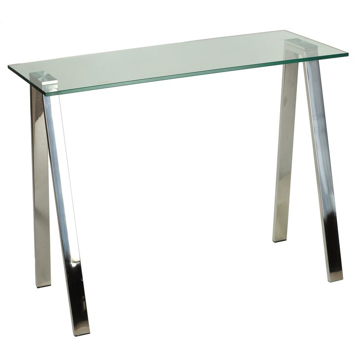 Cortesi Home Trixie Glass Top Desk / Console Table with Stainless Steel Frame, Clear, Size Medium