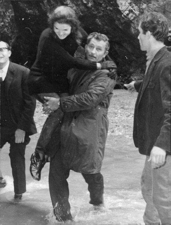 """Jackie being carried across a river (AKA a rare gem of a picture)! """