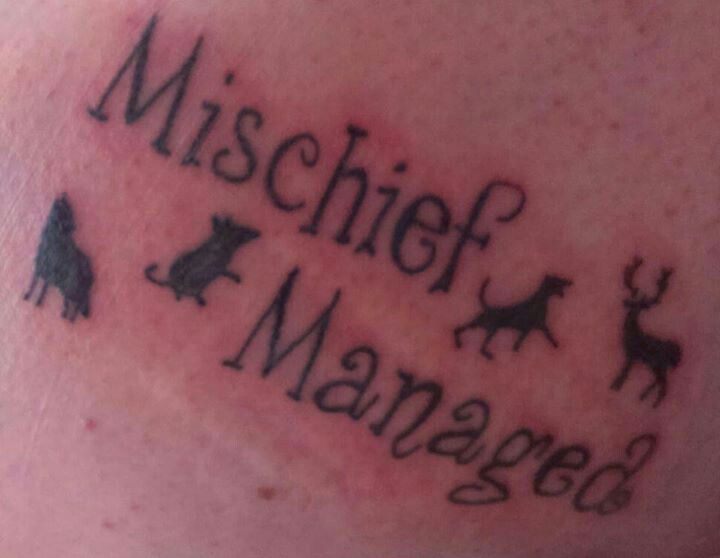 cool mischief managed Harry Potter tattoo