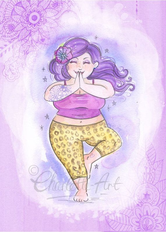 Wall Art Print Yoga Lady Purple Violet Crown Chakra A4 Size
