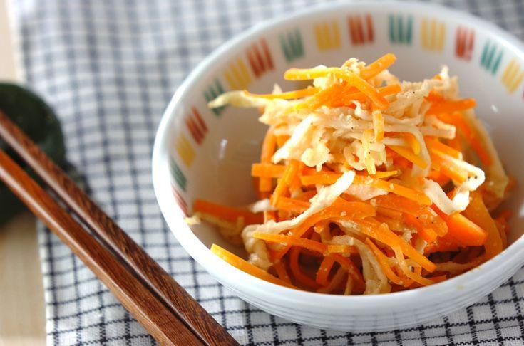 切り干し大根が入ったニンジンの酢の物は箸休めの一品に。ニンジンのゴマ風味酢の物[和食/サラダ・おひたし]2013.10.28公開のレシピです。