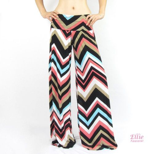 "Women's Chevron Zigzag Pastel Black Palazzo Wide Leg Pants Size ""L"" | eBay"