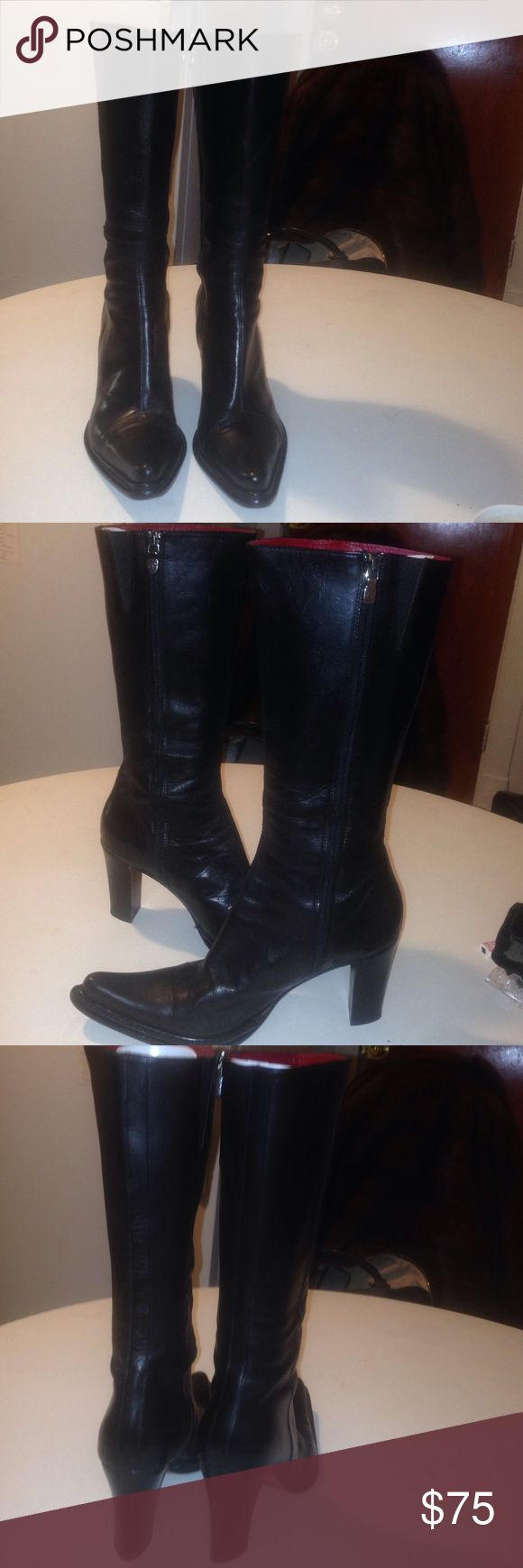 Donald Pliner boots Above calf 3.5' heel boot. Zips on inner leg. Signature zipper fly. Lined in red leather. Leather soles. 15' Calfs. No Knicks on heels. Very good & durable condition boots. Comfy & stylish Donald J. Pliner Shoes Winter & Rain Boots