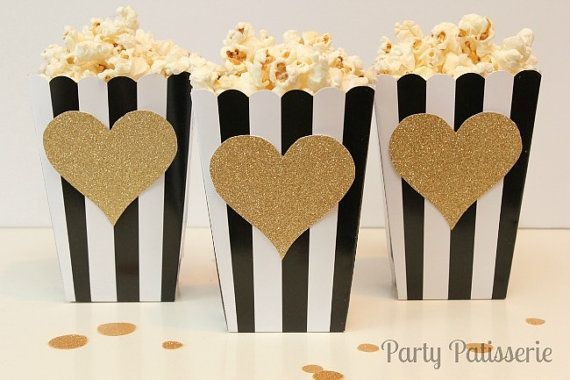 Sweet Black & White Striped Popcorn Boxes with Gold Heart by PartyPatisserie