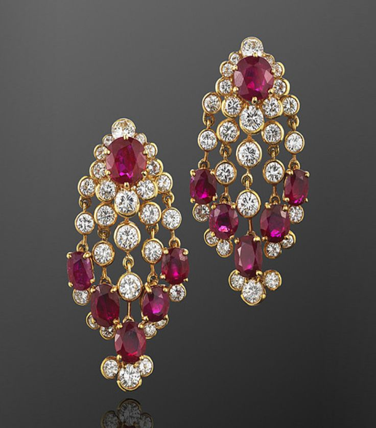 Ruby and Diamond Chandelier Earrings, French, circa 1960s