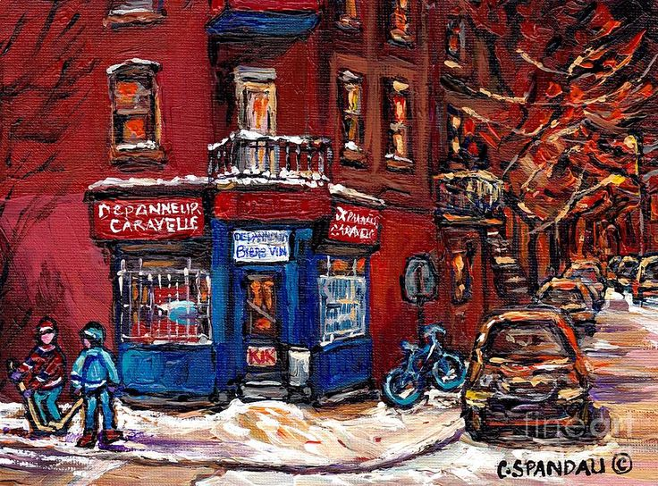 'Winter Night Scene Street Hockey Painting Depanneur Caravelle Rue Dufresne Best Montreal Art Scenes' by Carole Spandau #art