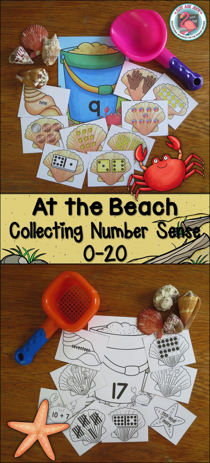 This beach themed sorting activity is perfect for teaching basic number sense 0-20 in preschool, kindergarten, and the beginning of first grade. The beach theme works well for the end of the school year, summer school, or the beginning of the school year. This number sense activity is ideal for either resource or intervention groups or as an independent math station. $