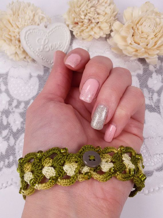 Olive freeform crochet bracelet textile jewelry by Rocreanique on Etsy