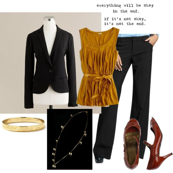 """""""09.15.11"""" by lolalovesfrank on Polyvore--love the brown shoes with the black suit"""