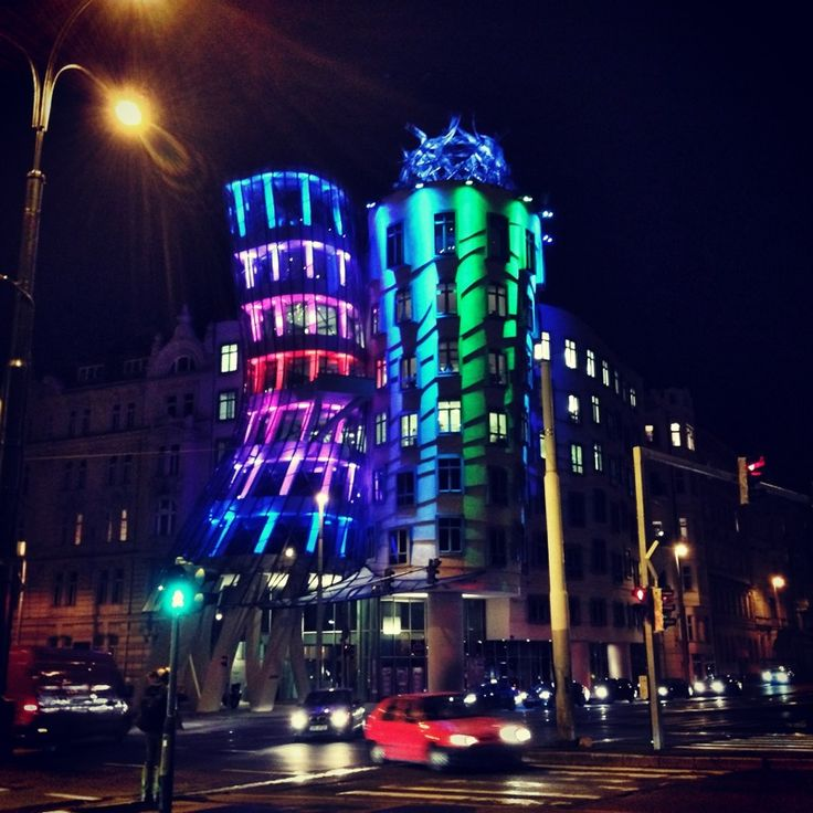 Dancing House, Prague #signalfestival #architecture #prague #lightart, #installation #videomapping www.signalfestival.com
