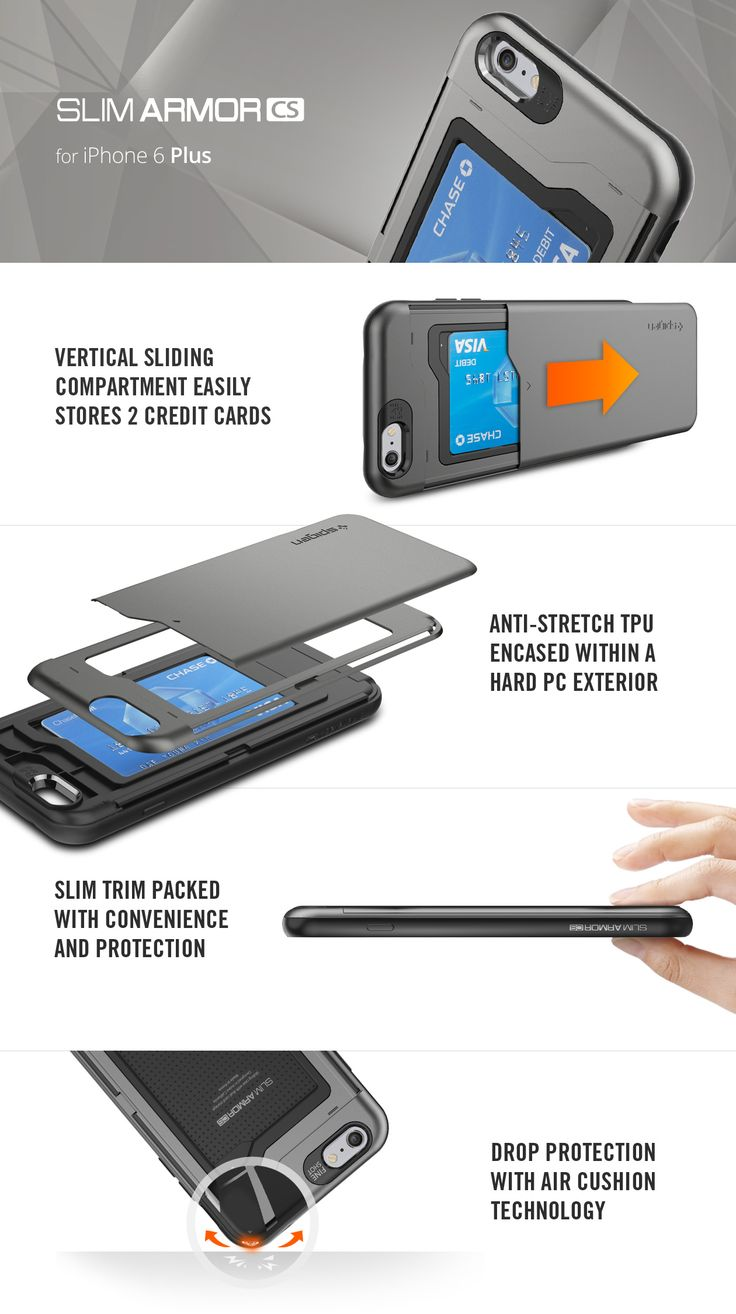 The Slim Armor CS (Card Slot) Case for the iPhone 6 Plus features a sliding back compartment that can hold up to 2 credit cards or IDs.