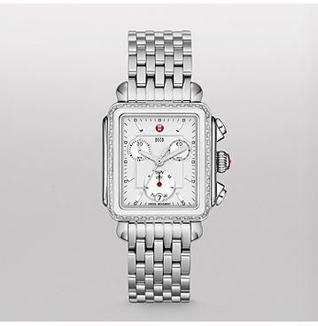 Deco Diamond White Ceramic Combo on Bracelet Together shining stainless steel and white ceramic give a fresh look to MICHELE's iconic collection. With 108 diamonds and signature MICHELE touches, the Deco Diamond Ceramic Combo timepiece is a must for any watch lover. The stainless steel bracelet is interchangeable with any 18mm MICHELE strap.