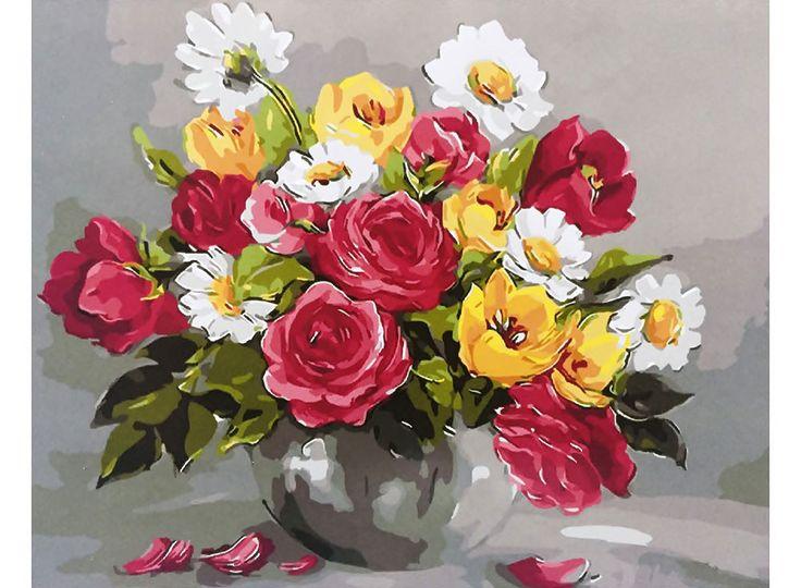 Картина по номерам, раскраска по номерам, paint by numbers, купить картину по номерам - «Весенние цветы» Анки Булгару - Zvetnoe.ru - картины по номерам, картина по цифрам