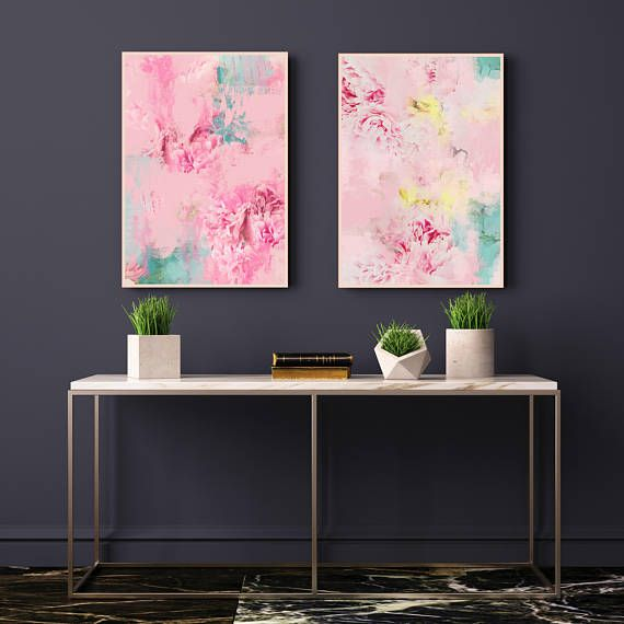 Pink Abstract Art Set of 2 Abstract Flower Paintings Pale