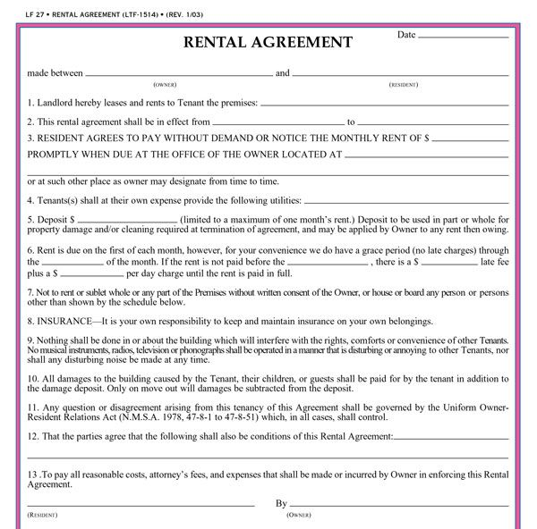 Free Printable Rental Agreement. Ohio Standard Residential Lease