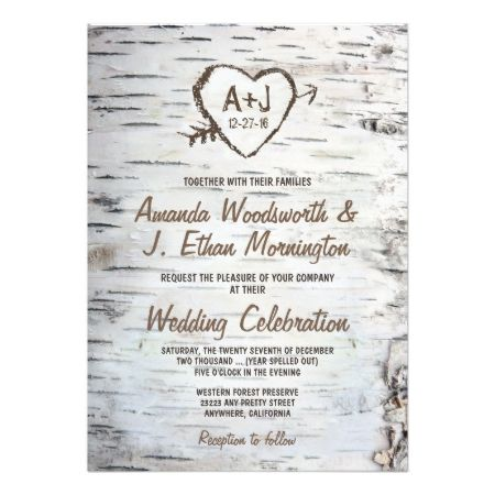 Country Rustic Birch Tree Bark Wedding Invitations - tap to personalize and get yours