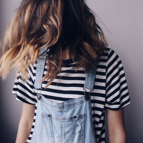 Overalls + a striped tee.